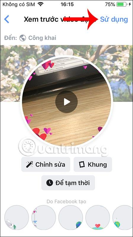 Sử dụng video avatar
