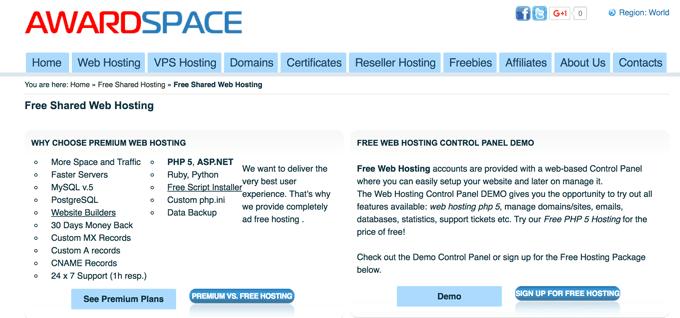 hosting miễn phí tốt nhất awardspace