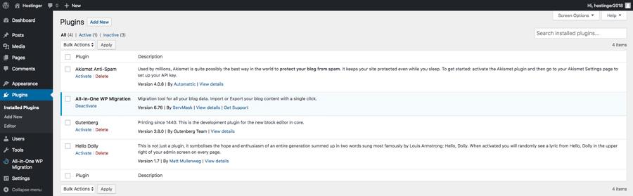 wordpress plugin trong dashboard