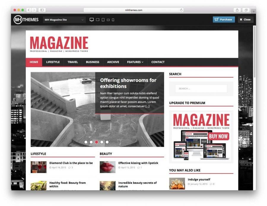 The MHMagazine demo page.