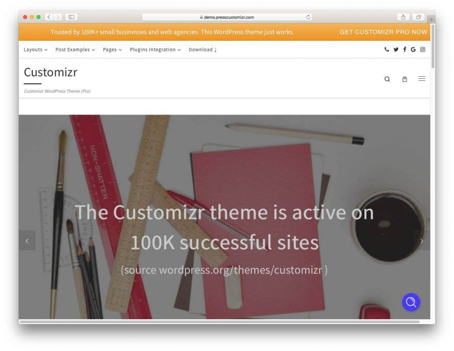 The Customizr demo page.