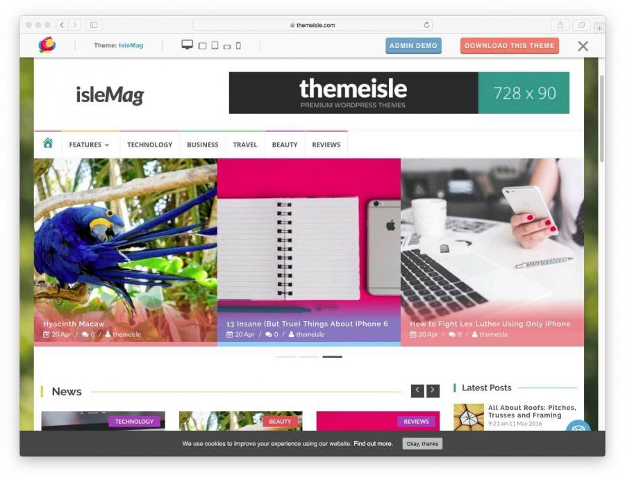 The IsleMag demo page.