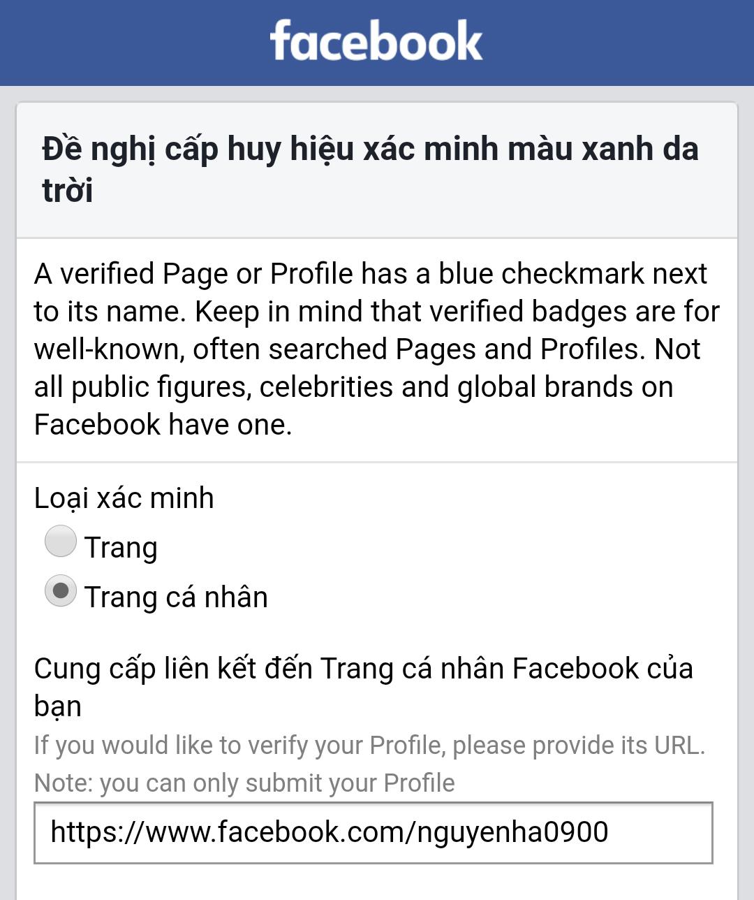 Cách đăng ký tích xanh cho facebook cá nhân