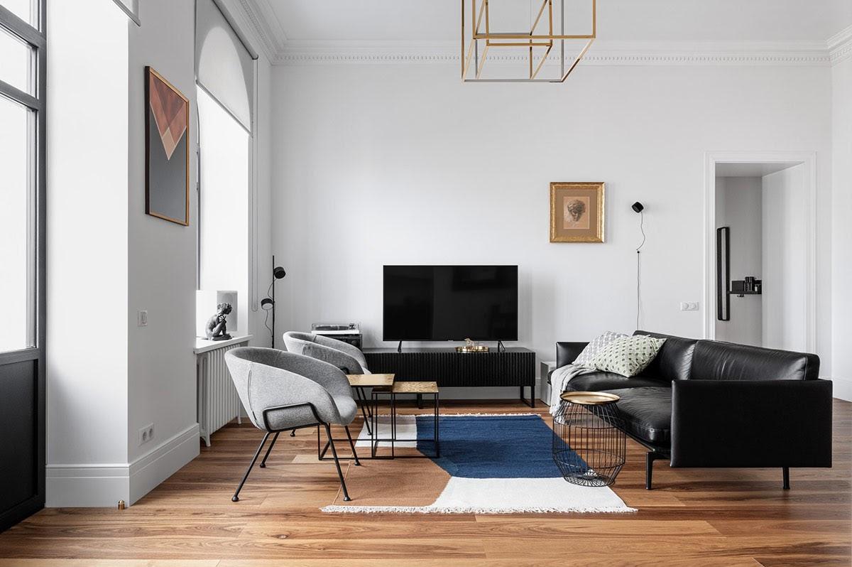 Thiết kế phòng khách 20m2 – kích thước 4.2x5m với đồ nội thất đơn giản
